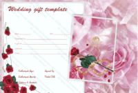 Pink Rose Wedding Gift Certificate Template pertaining to Quality Free Editable Wedding Gift Certificate Template