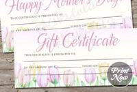 Pink Tulip Printable Gift Certificate Template Spring inside Best Pink Gift Certificate Template
