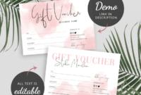 Pink Watercolor Gift Voucher  Editable Gift Certificate for Editable Fitness Gift Certificate Templates