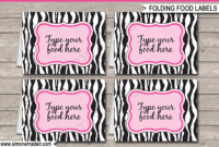 Pink Zebra Printable Food Labels  Place Cards  Pink pertaining to Amazing Zoo Gift Certificate Templates Free Download