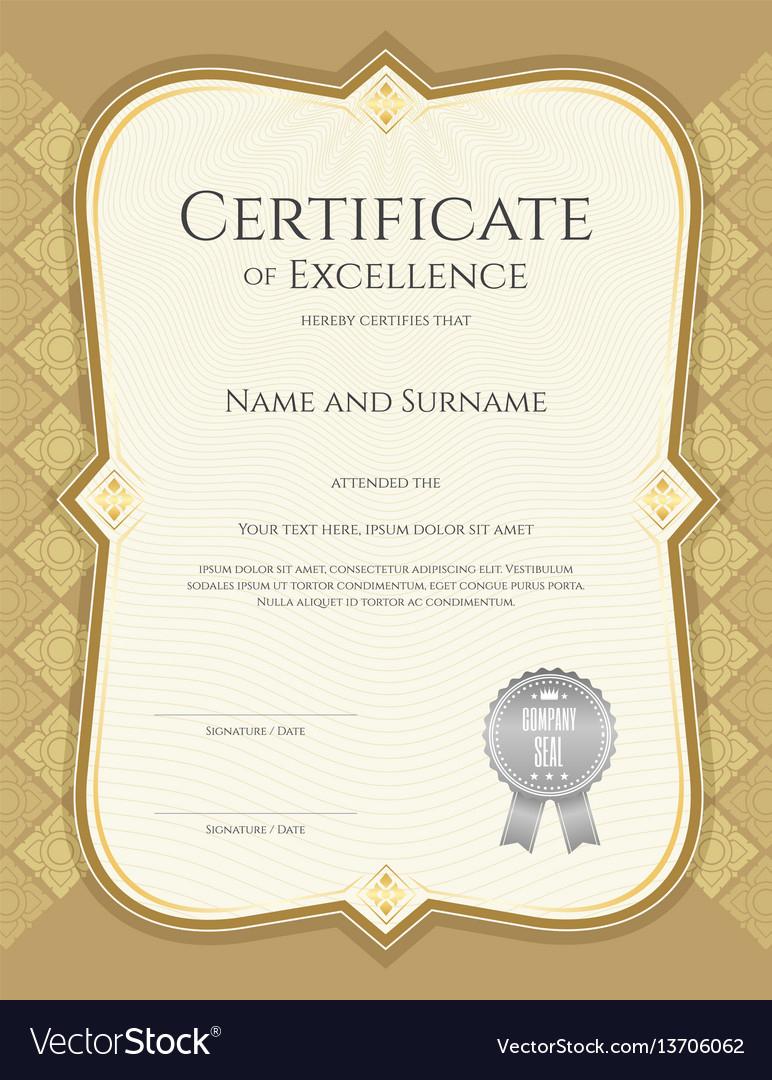 Portrait Certificate Of Achievement Template Vector Image for Certificate Of Accomplishment Template Free