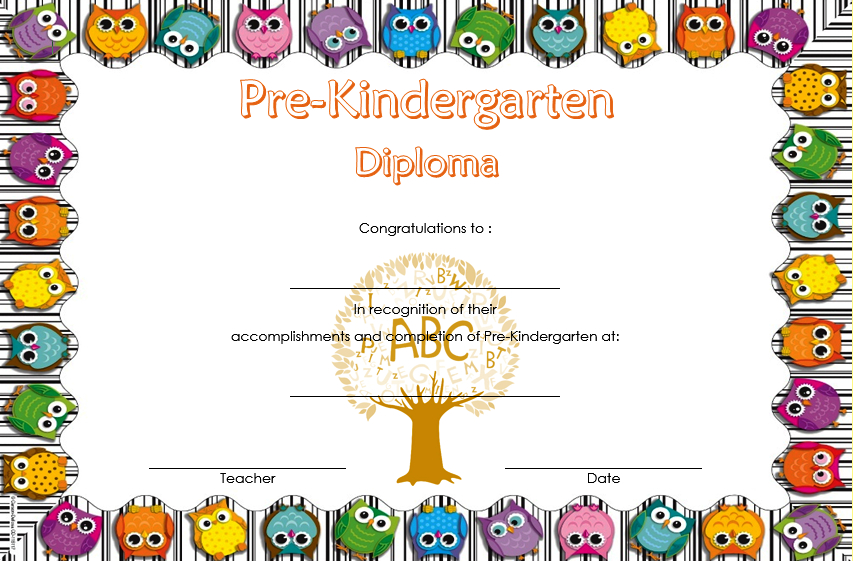 Pre K Diploma Certificate Editable  10 Great Templates pertaining to Free Kindergarten Completion Certificate Templates