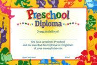 Pre School Certificate  Calepmidnightpigco Inside Free with Certificate For Pre K Graduation Template