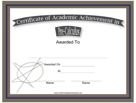 Precalculus Academic Achievement Certificate Template throughout Academic Achievement Certificate Template