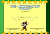 Prekindergarten Diploma Certificate Free Template 1 In for Kindergarten Graduation Certificate Printable