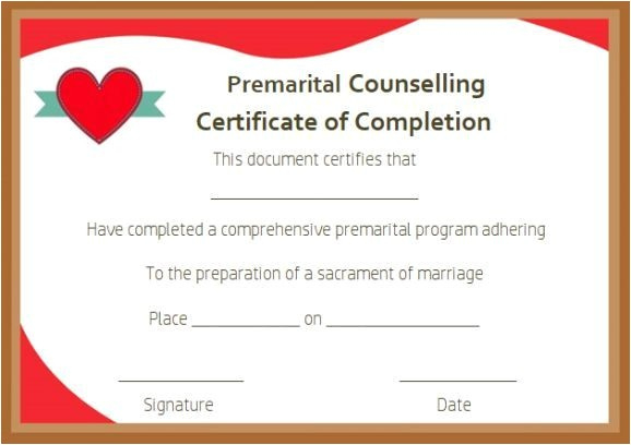 Premarital Counseling Certificate Of Completion Template throughout Marriage Counseling Certificate Template