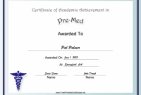 Premed Academic Certificate Printable Certificate for Academic Certificate