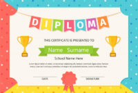Premium Vector  Kid Diploma Certificate Illustration inside Amazing Daycare Diploma Certificate Templates