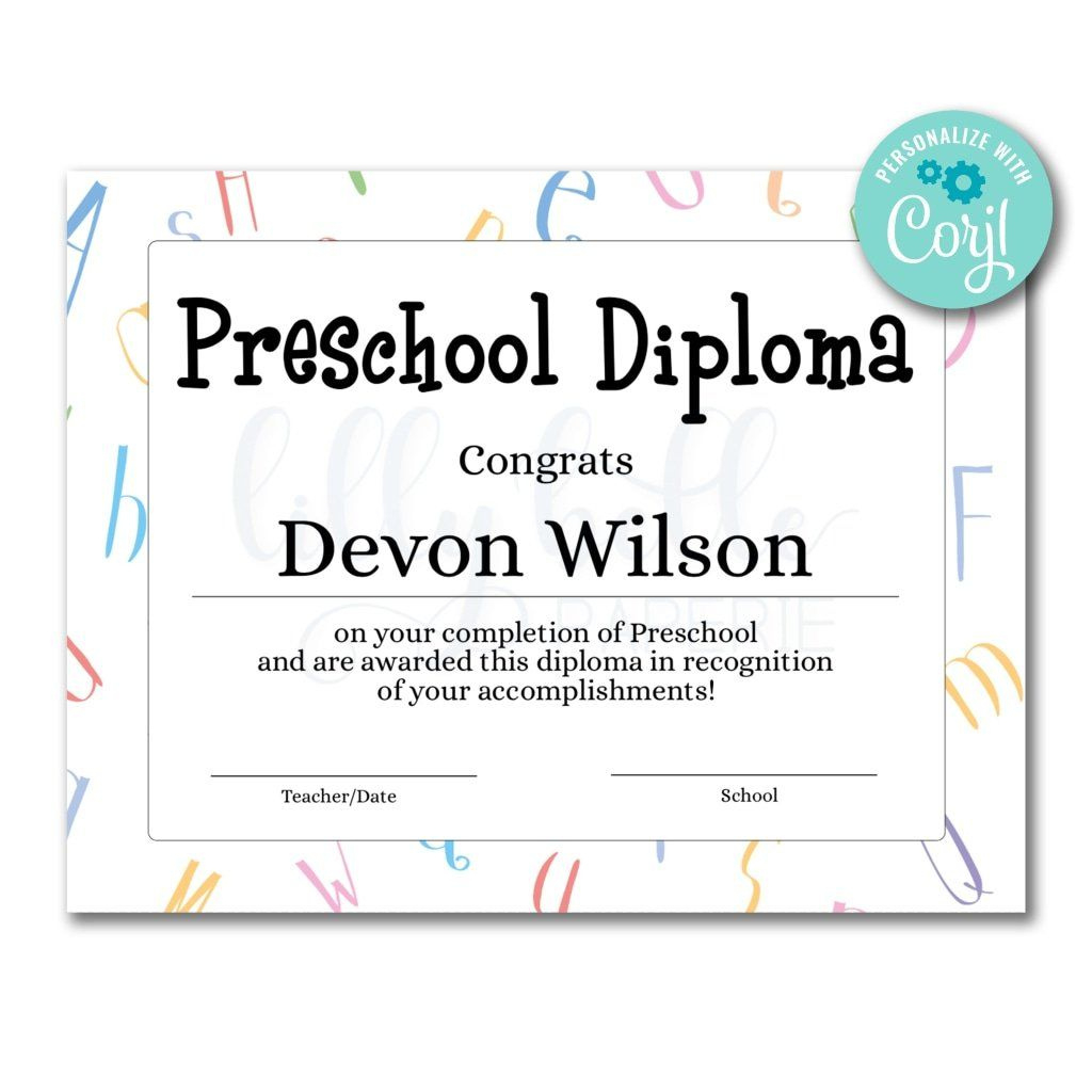 Preschool Diploma Certificate  Certificate Templates regarding Best Classroom Certificates Templates