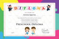 Preschool Diploma Certificate Template  Graduation for Quality 10 Kindergarten Graduation Certificates To Print Free