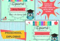Preschool Diploma / Prek Graduation Award Certificate pertaining to Printable Editable Pre K Graduation Certificates