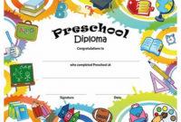 Preschool Graduation Certificate Template Free  Best with Printable Preschool Graduation Certificate Template Free