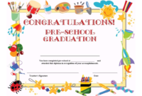 Preschool Graduation Certificate Template Free regarding Kindergarten Certificate Of Completion Free