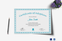 Printable Adoption Certificate Design Template In Psd Word regarding Pet Adoption Certificate Editable Templates