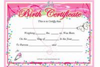 Printable Birth Certificate Template Unique 15 Birth regarding Girl Birth Certificate Template