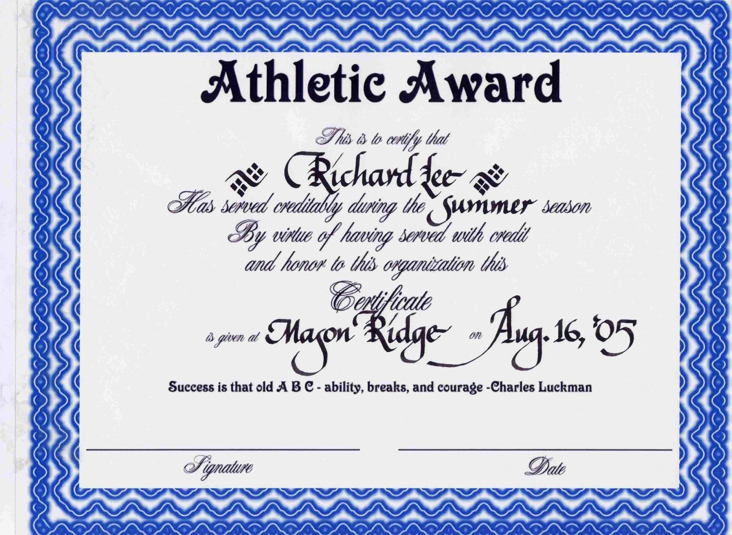 Printable Certificate Sample For Sports Athletic with regard to Professional Award Certificate Template