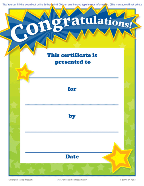 Printable Congratulations Award For Teachers Free in Star Reader Certificate Template Free
