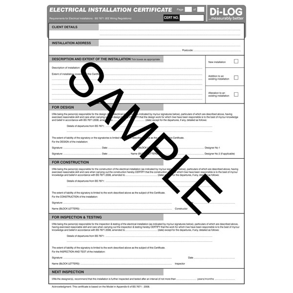 Printable Electrical Installation Certificates  Download for Quality Electrical Isolation Certificate Template