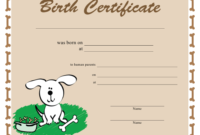 Printable Free Puppy Birth Certificate Template  Puppy with regard to Pet Birth Certificate Template 24 Choices
