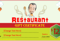 Printable Gift Certificate Templates For 2018  15 Free intended for Awesome Restaurant Gift Certificate Template