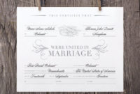Printable Marriage Certificate That Are Lucrative with Marriage Certificate Editable Template