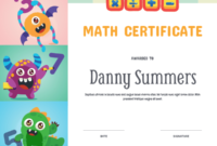 Printable Monster Math Award Certificate Template inside Free Math Certificate Template