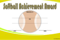 Printable Softball Certificate Templates 10 Best Designs pertaining to Softball Certificate Templates
