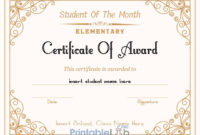 Printable Student Of The Month Award  Elementary within Student Of The Year Award Certificate Templates