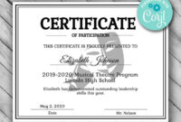 Printable Theatre Certificate Template  Performing Arts within Baby Shower Game Winner Certificate Templates