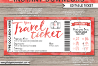 Printable Travel Ticket Gift Template  Surprise Vacation with regard to Printable Travel Gift Certificate Editable