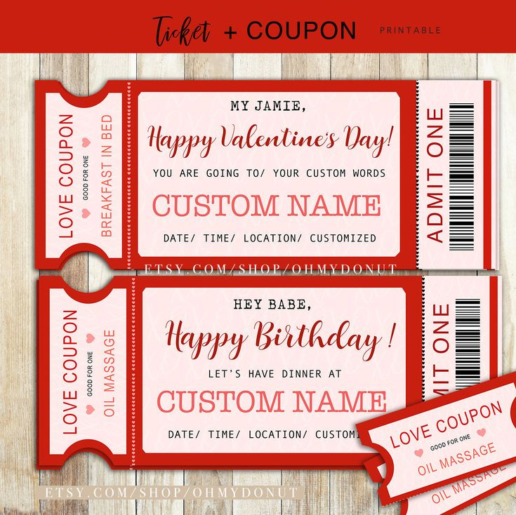 Printable Valentine'S Day Ticket With Love Coupon in Free Love Certificate Templates