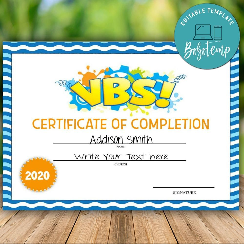 Printable Vbs Vacation Bible School Certificate Of in Vbs Certificate Template