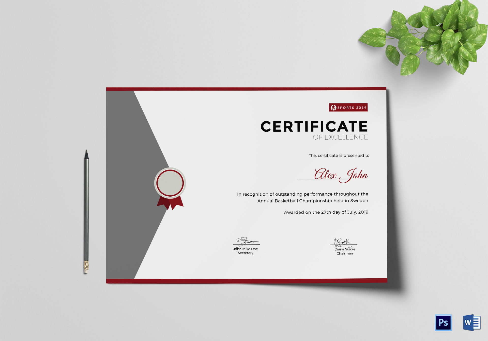 Prize Excellence Certificate Design Template In Psd Word throughout Awesome Certificate Of Excellence Template Word
