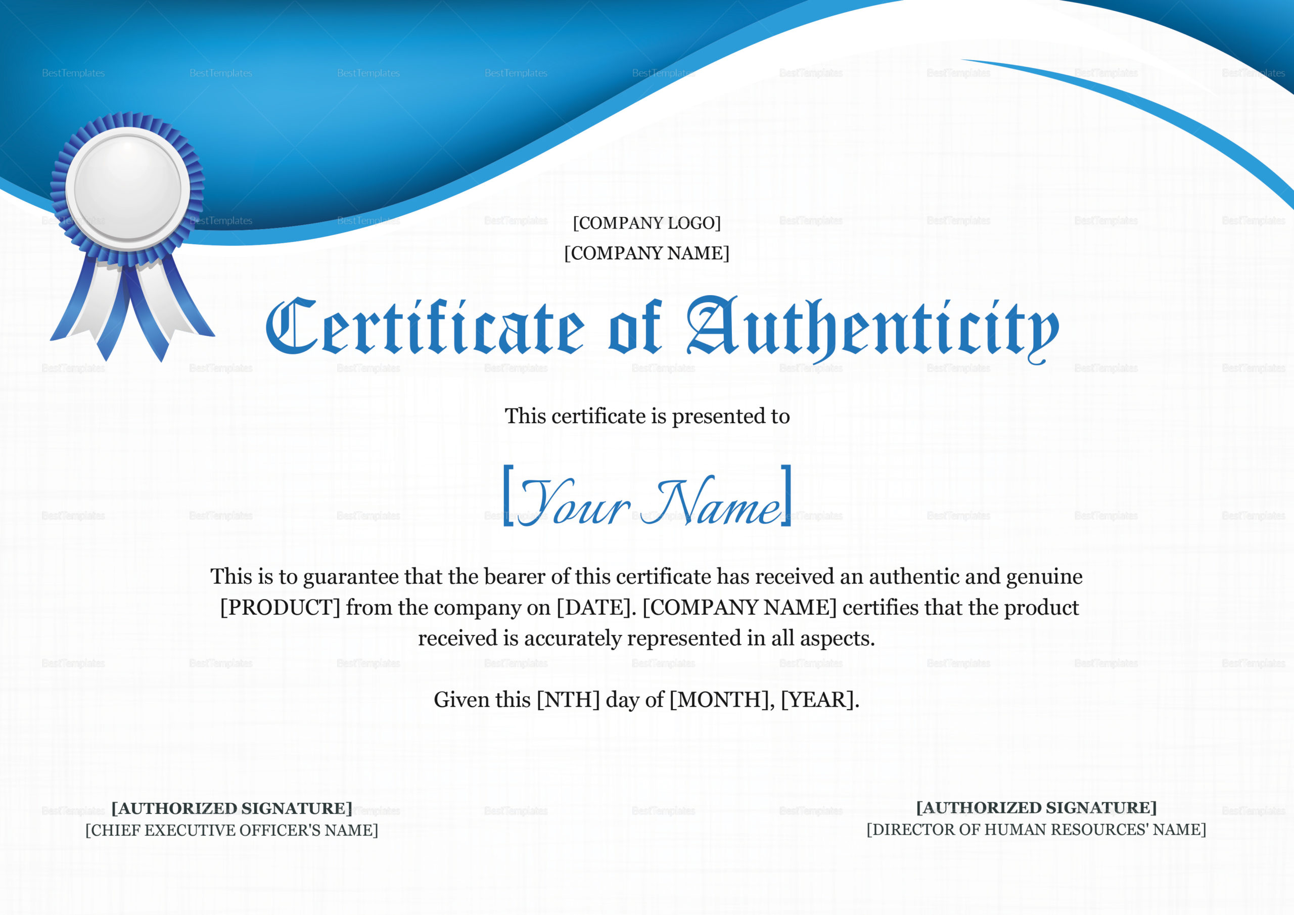 Product Authenticity Certificate Design Template In Psd Word for Certificate Of Authenticity Template