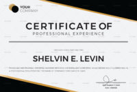 Professional Experience Certificate Template In Psd Word with Indesign Certificate Template