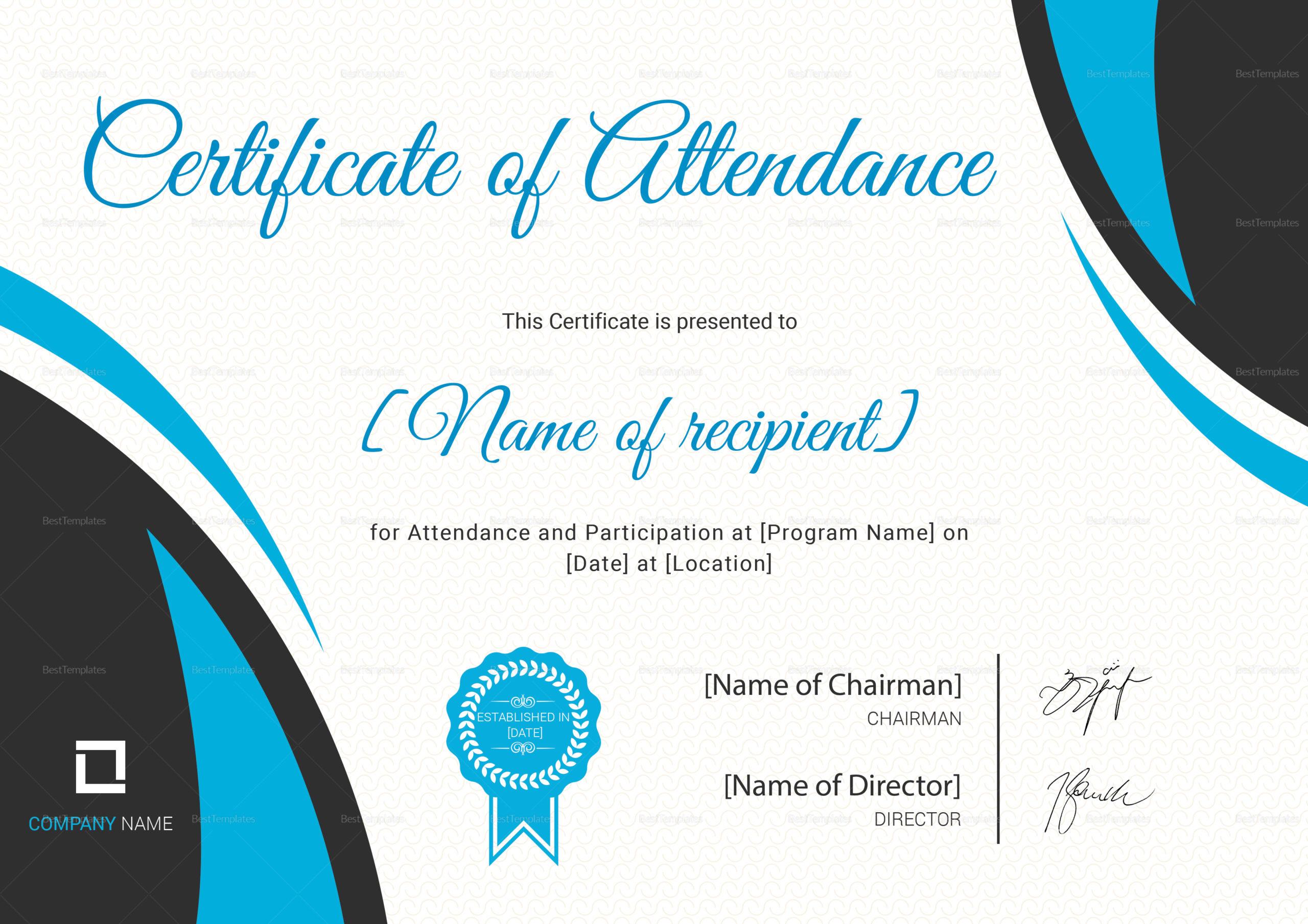 Program Attendance Certificate Design Template In Psd Word intended for Attendance Certificate Template Word
