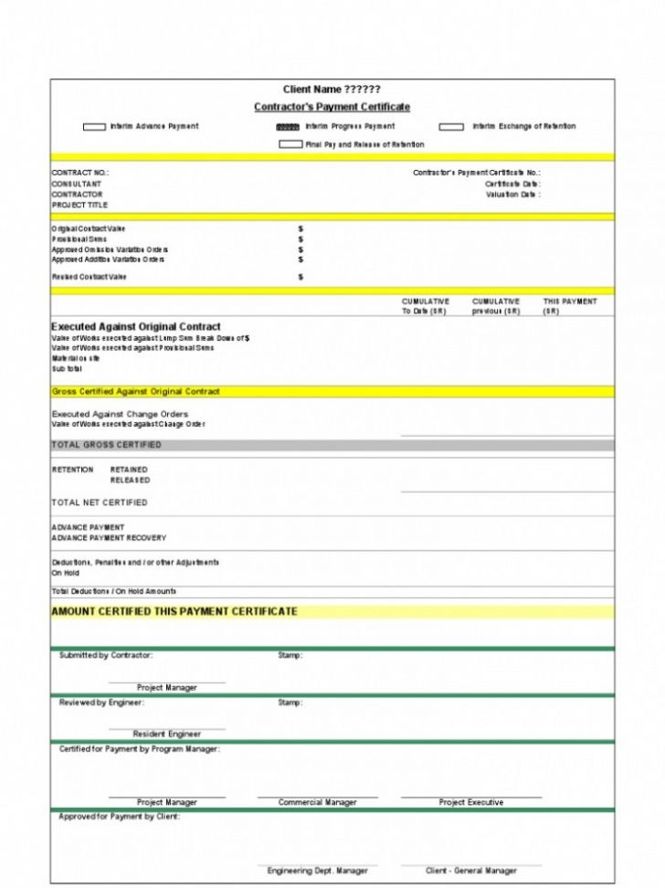 Progress Payment Certificate  Carlynstudio intended for Construction Payment Certificate Template
