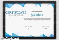 Psd Editable Job Experience Certificate Template for Awesome Certificate Of Experience Template