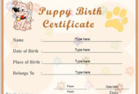 Puppies Vet Visit 06/21/2013  Birth Certificate in Awesome Rabbit Adoption Certificate Template 6 Ideas Free