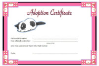 Puppy Adoption Certificate Templates within Best Stuffed Animal Birth Certificate