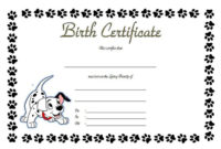 Puppy Birth Certificate Free Printable 5 In 2020  Birth inside Free Cute Birth Certificate Template