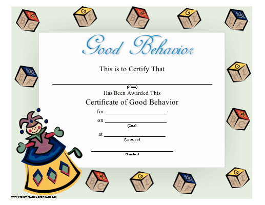 Quality Good Behaviour Certificate Templates  Amazing with Best Good Behaviour Certificate Templates