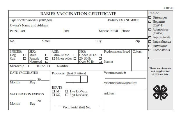 Rabies Vaccination Certificate Template  Williamsonga intended for Rabies Vaccine Certificate Template