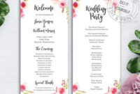 Reception Program  Etsy pertaining to Wedding Reception Agenda Template