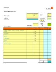 Recipe Cardtemplate Piedocx  Futura Group© Standard with Awesome Cost Card Template