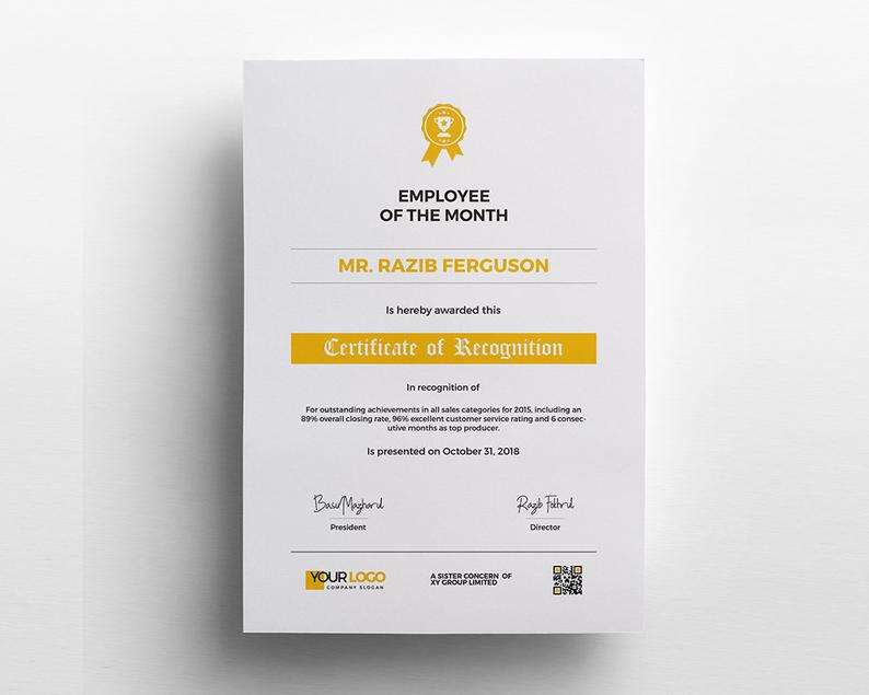 Recognition Certificate Template Stationary Design In Ms in Share Certificate Template Australia
