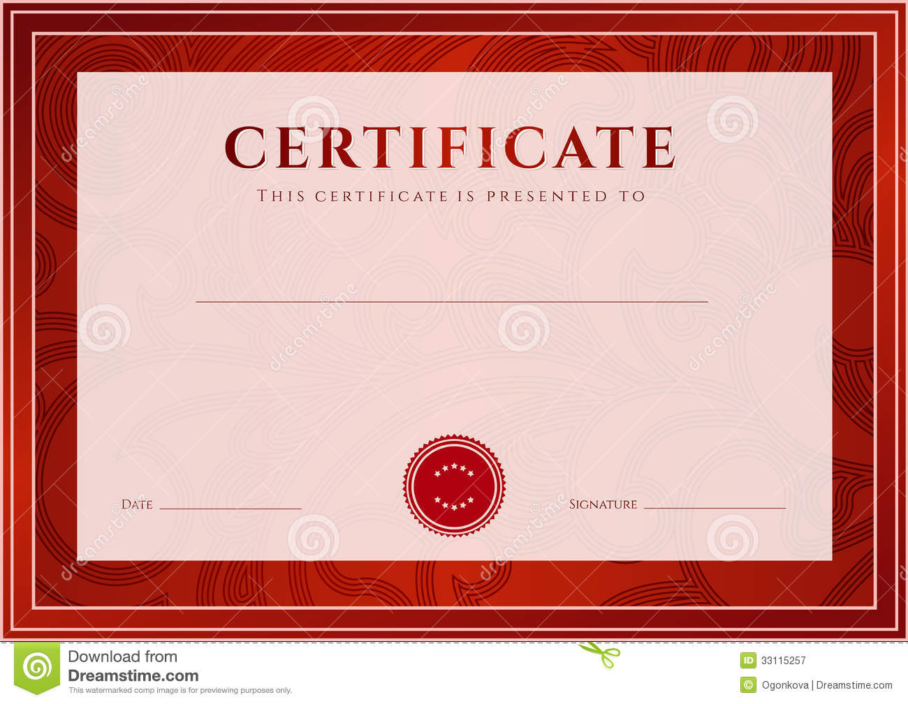 Red Certificate Diploma Template Award Pattern Stock within Quality Scroll Certificate Templates