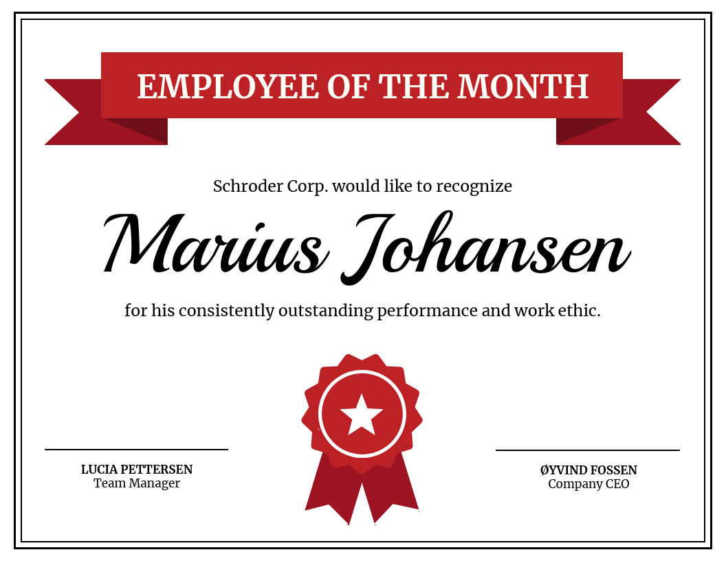 Red Employee Monthly Recognition Certificate Template throughout Employee Appreciation Certificate Template