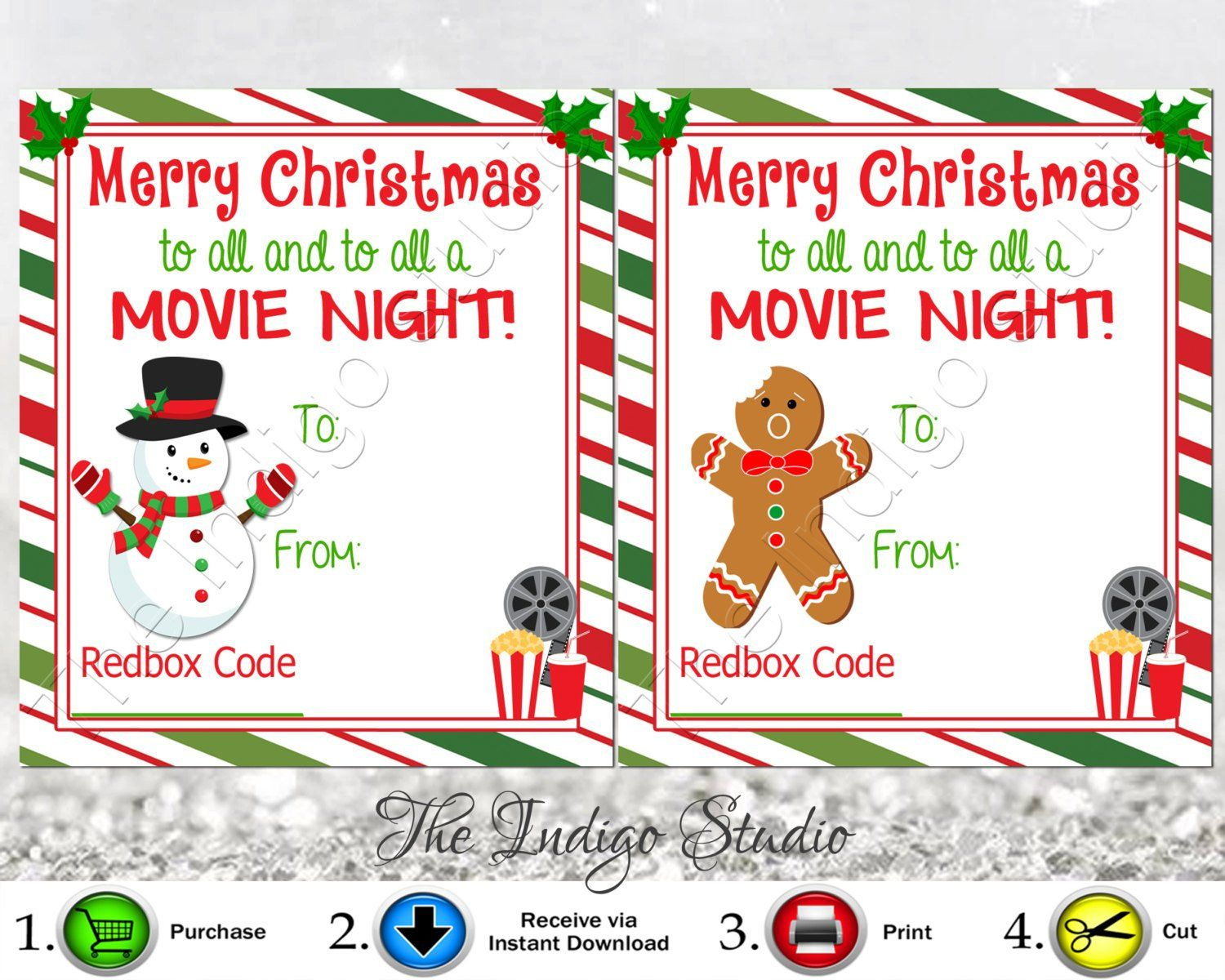 Redbox Codes Gift Tags Cards Digital Printable 4 Different regarding Movie Gift Certificate Template