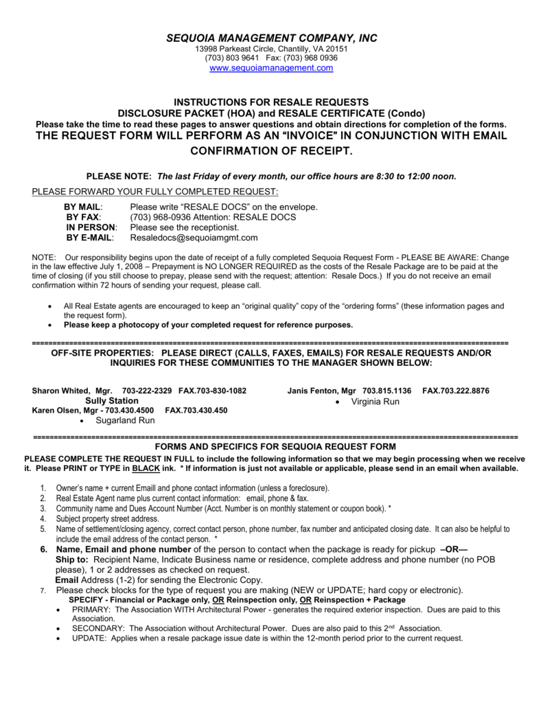 Resale Document Request Form  Centreville Community pertaining to Best Resale Certificate Request Letter Template